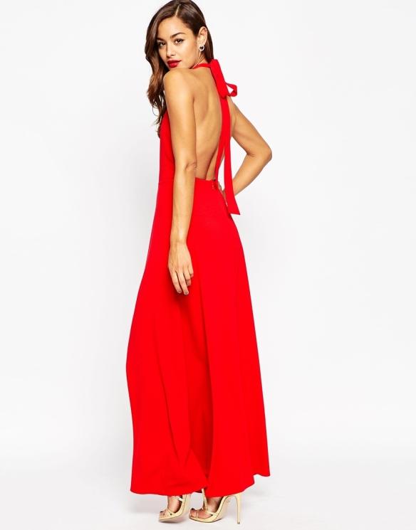 el blog de ana suero-vestidos para invitadas a una boda en otoño invierno-Asos vestido largo rojo espalda escotada escote halter2