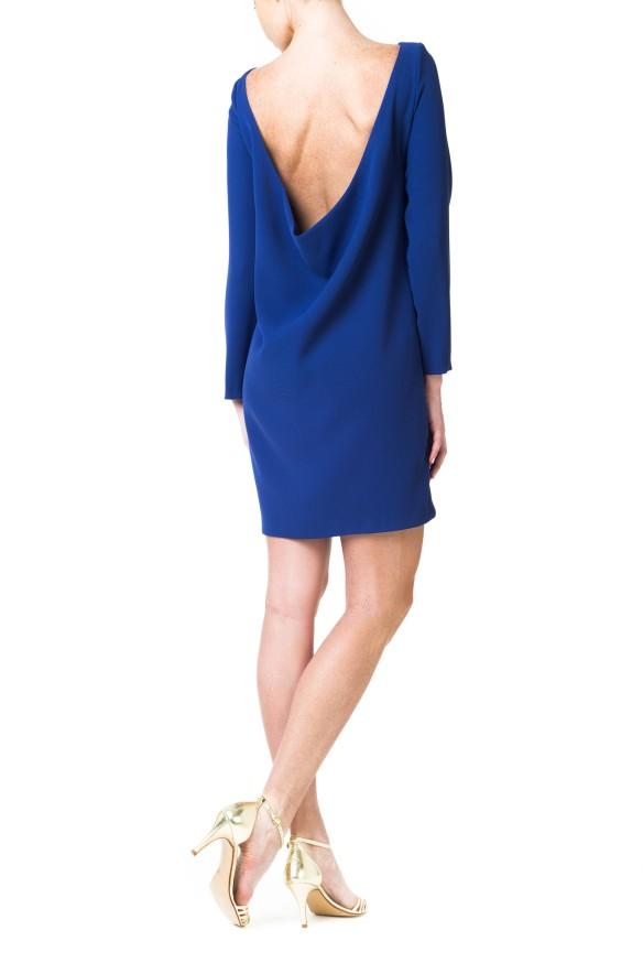 el blog de ana suero-vestidos para invitadas a una boda en otoño invierno-Double Ikkat Vestido corto azul klein espalda escotada 2