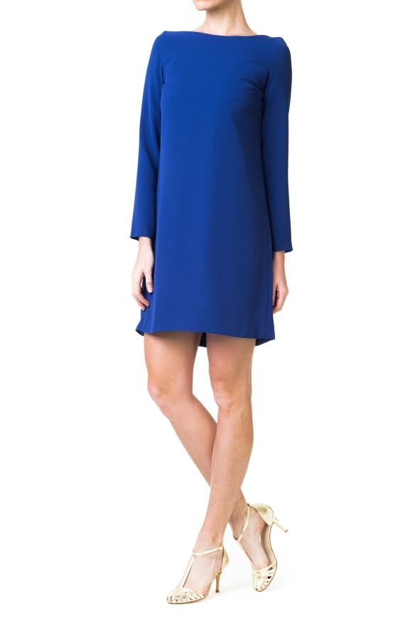 el blog de ana suero-vestidos para invitadas a una boda en otoño invierno-Double Ikkat Vestido corto azul klein espalda escotada