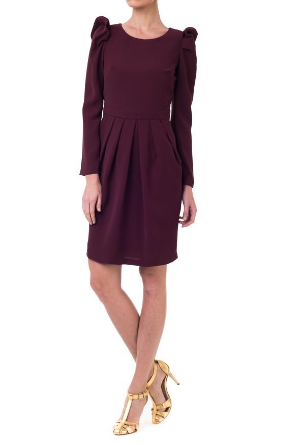 el blog de ana suero-vestidos para invitadas a una boda en otoño invierno-Double Ikkat Vestido corto color burgundy manga larga