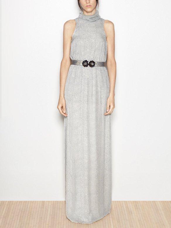 el blog de ana suero-vestidos para invitadas a una boda en otoño invierno-Hoss vestido largo cuello vuelto gris perla