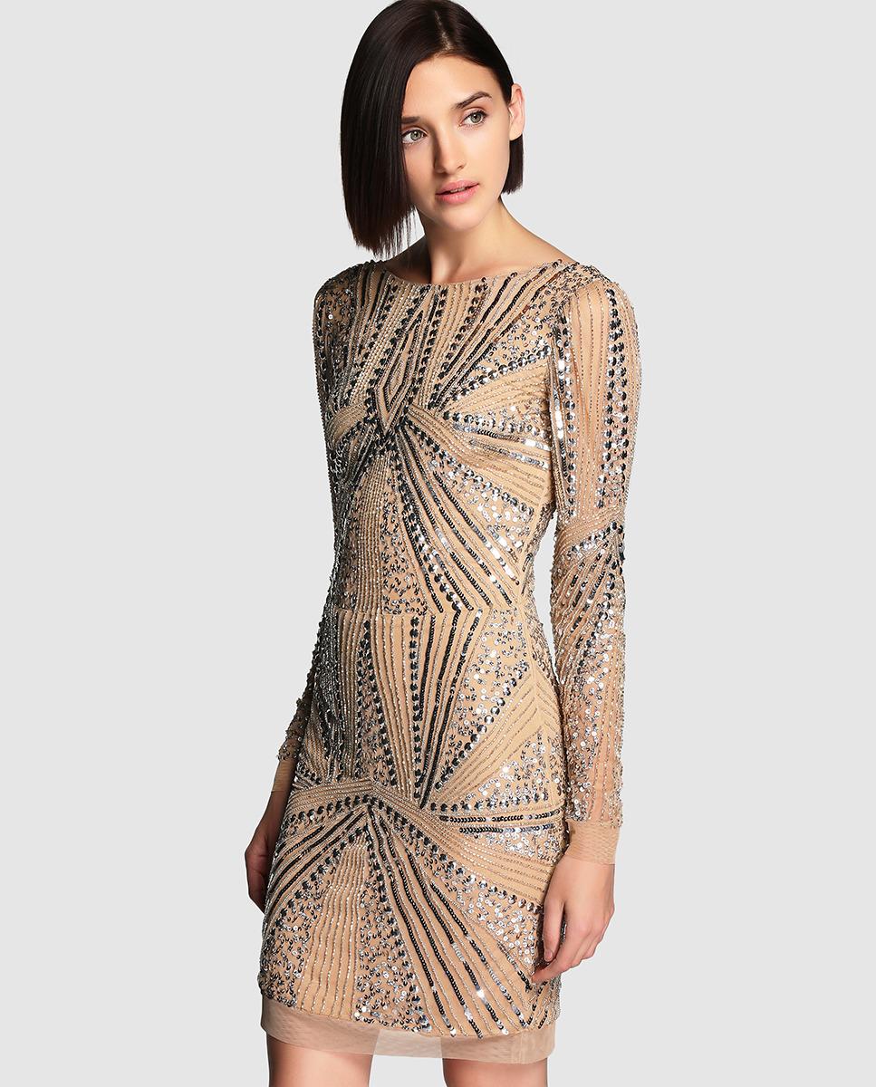 ad985f9aa77 el blog de ana suero Moda Navidades 2015 El Corte Ingles mini vestido  lentejuelas nude y plateado