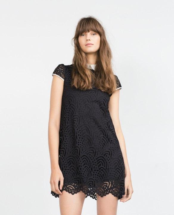 el blog de ana suero_Moda Navidades 2015_Zara mini vestido negro guipur con cuello blanco