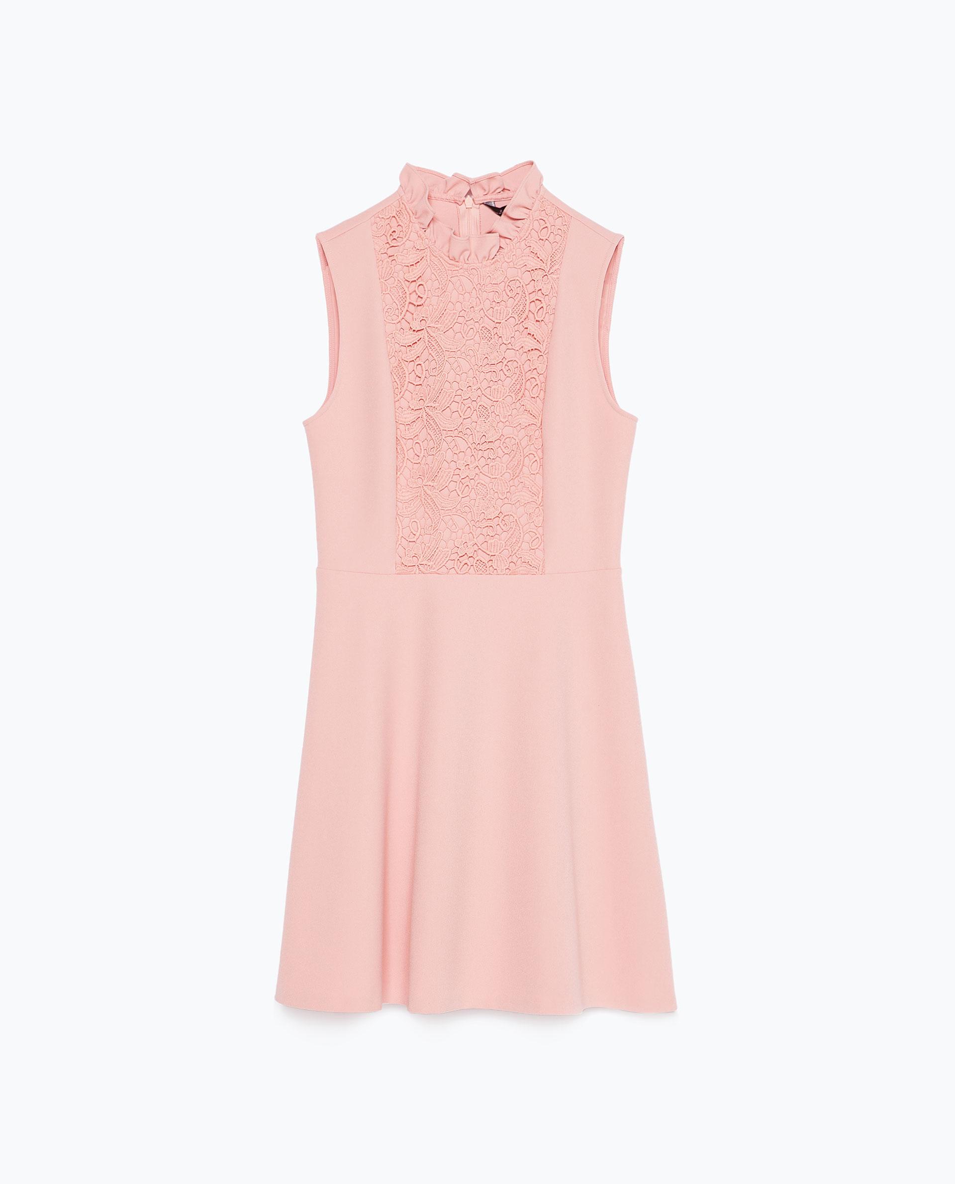 vestido rosa palo encaje zara