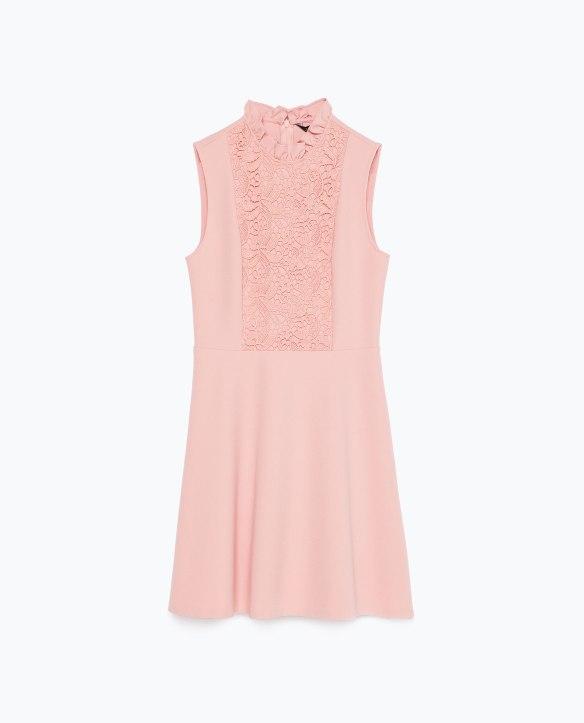 el-blog-de-ana-suero_Rosa cuarzo color pantone 2016-Zara minivestido encaje pechera