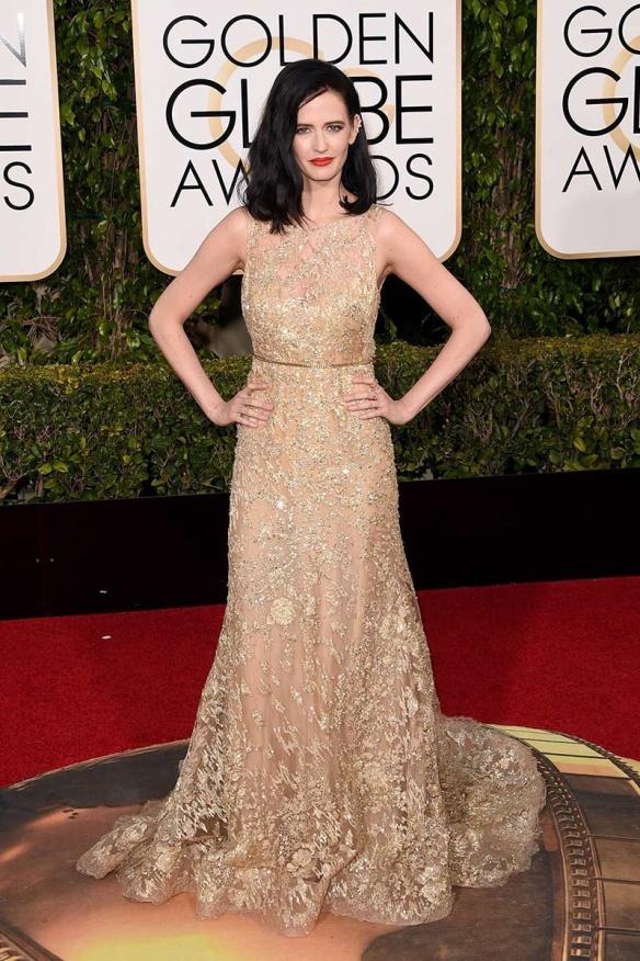 blog ana suero-Alfombra roja Globos Oro 2016-Eva Green vestido Elie Saab paillettes transparencias dorado
