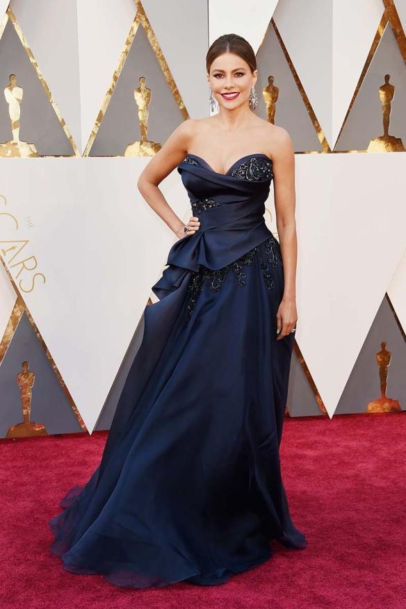 el blog de ana suero-alfombra roja Oscars 2016-Sofía vestido Marchesa volumen palabra honor azul noche