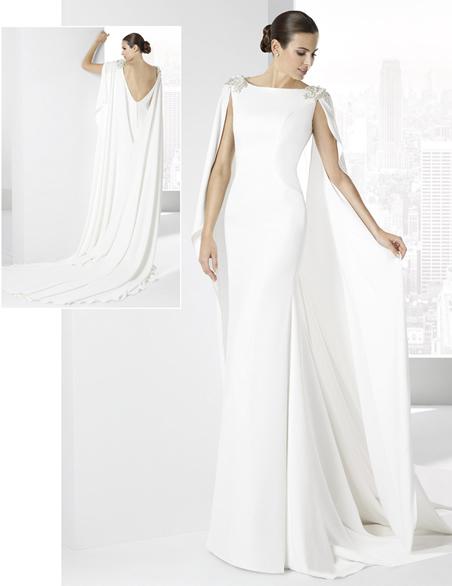 el blog de ana suero-Vestidos novia 2016-Franc Sarabia vestido recto capa y escote pico espalda