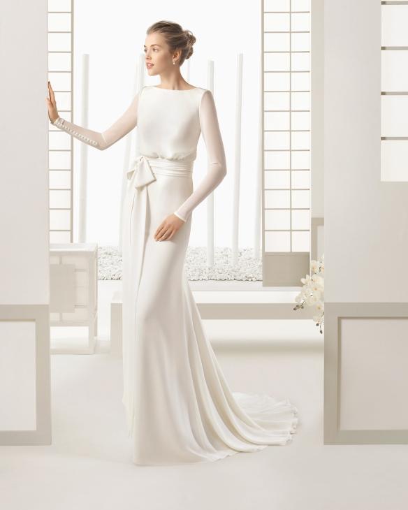 el blog de ana suero-Vestidos novia 2016-Rosa Clara Sal vestido recto manga larga