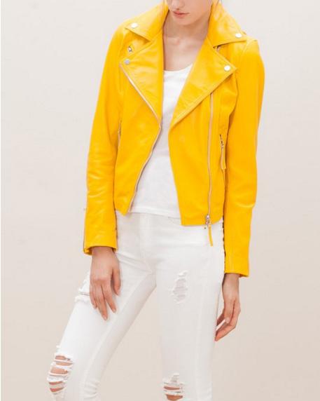 el blog de ana suero-Bikers de moda 2016-Stradivarius cazadora amarilla piel