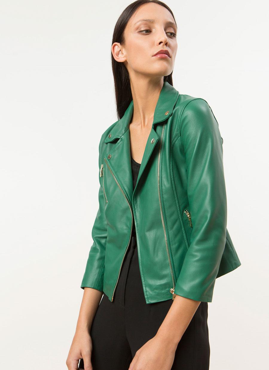 Cazadoras de cuero mujer verdes