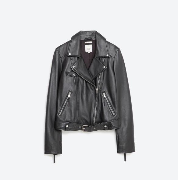 el blog de ana suero-Bikers de moda 2016-Zara TFR negra basica piel
