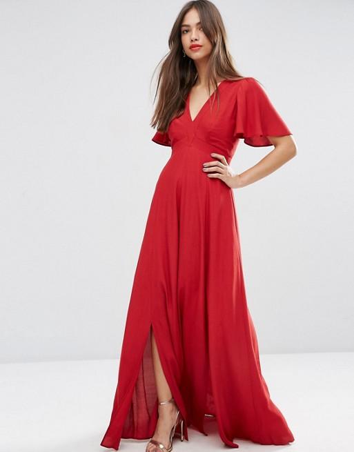 Vestido largo rojo manga volante