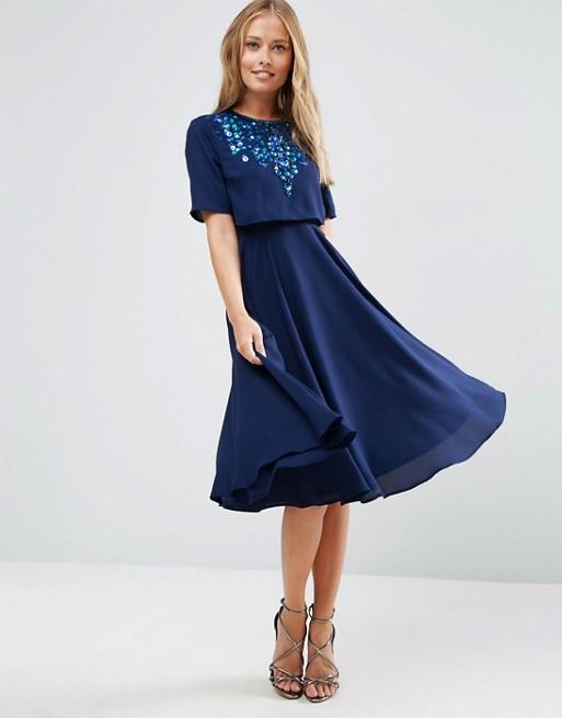 Vestido midi azul pedreria