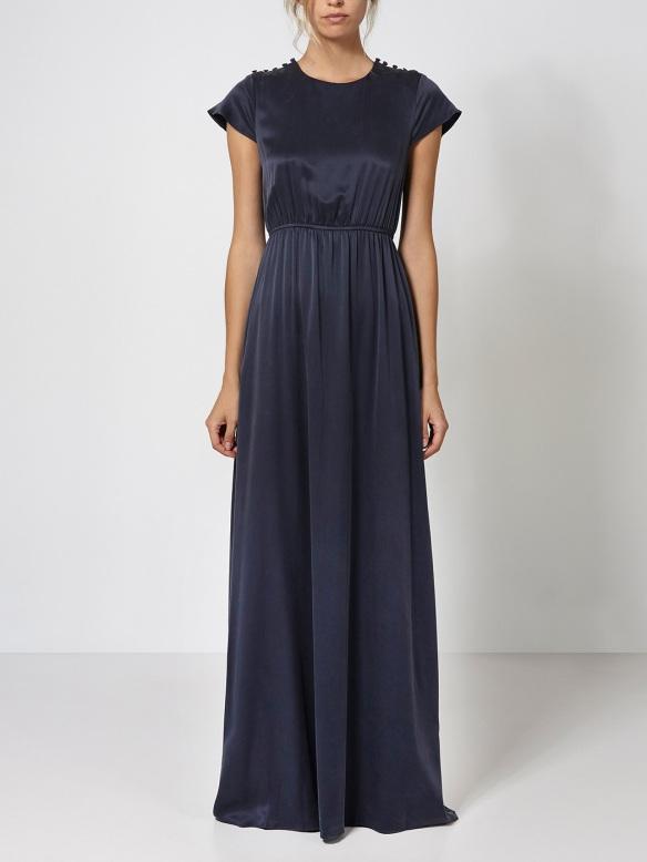 Vestido seda azul marino